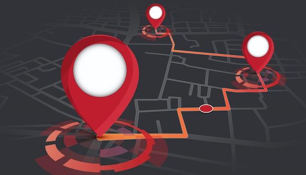 Pines gps que se muestran en el mapa de calles con seguimiento de ruta