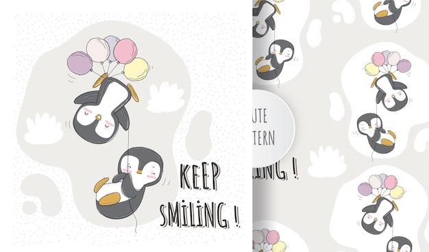 Pingüino animal lindo plano volando con conjunto de patrón de globo