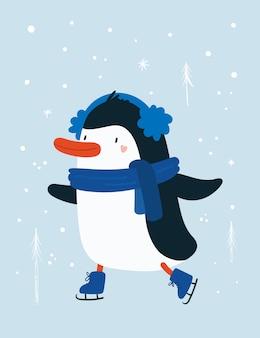 Pingüino bebé animal con copos de nieve