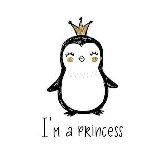 Pingüino de brillo dorado con corona y letras: soy una princesa aislada en blanco.