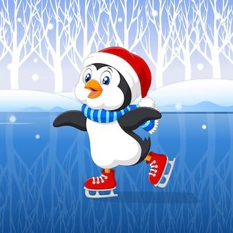 Pingüino de dibujos animados lindo haciendo patinaje sobre hielo