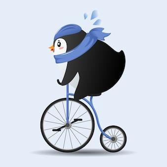Pingüino de dibujos animados lindo en bicicleta con bufanda azul.