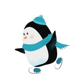 Pingüino de dibujos animados lindo en bufanda y sombrero disfrutando de patinaje