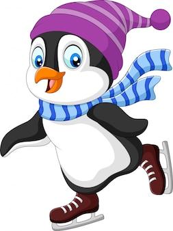 Pingüino de dibujos animados patinaje sobre hielo aislado