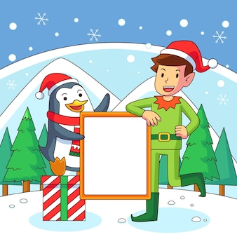 Pingüino y elfo sosteniendo pancarta en blanco