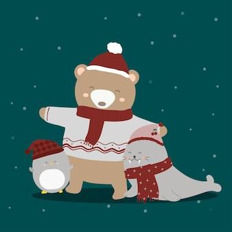 Pingüino, foca y oso en traje de invierno.