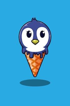 Pingüino con ilustración de dibujos animados de helado
