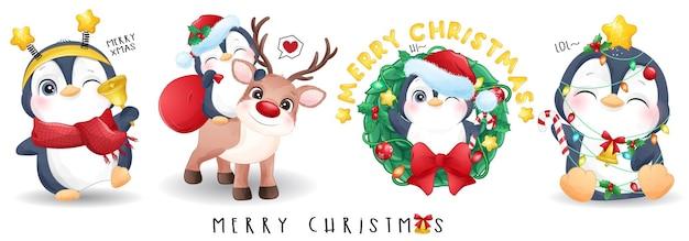 Pingüino lindo del doodle para el conjunto de ilustración de feliz navidad