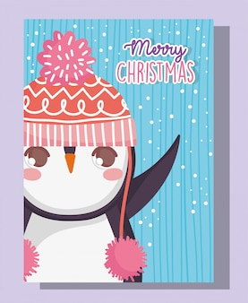 Pingüino lindo feliz feliz navidad