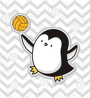 Pingüino lindo jugando al voleibol