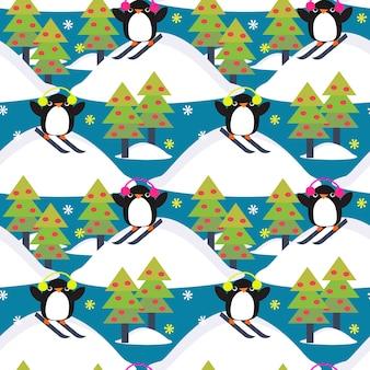 Pingüino lindo jugar esquí en el bosque.