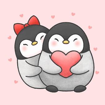 Pingüino lindo par de dibujos animados estilo dibujado a mano
