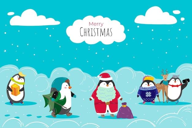 Pingüino lindo personaje preparando feliz navidad