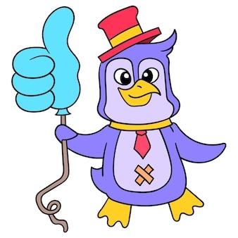 Pingüino lindo que lleva un pulgar hacia arriba del globo para promover el contenido de las redes sociales, arte de la ilustración del vector. imagen de icono de doodle kawaii.