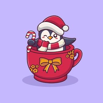Pingüino lindo que lleva el sombrero de santa en la taza linda ilustración de dibujos animados de navidad