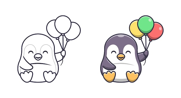 Pingüino lindo que sostiene las páginas del colorante de la historieta del globo para los niños