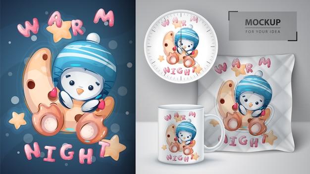 Pingüino en la luna - póster y merchandising
