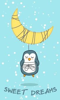 Pingüino y luna en tema de dulce sueño.