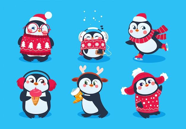 Pingüino de navidad. divertidos animales de nieve, lindos personajes de dibujos animados de pingüinos bebé con sombrero de invierno.