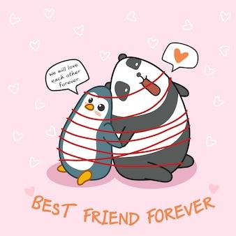 Pingüino y panda son amigos entre sí.