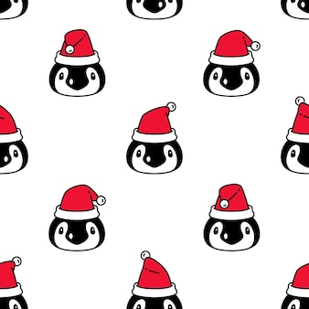 Pingüino de patrones sin fisuras pájaro navidad santa claus dibujos animados
