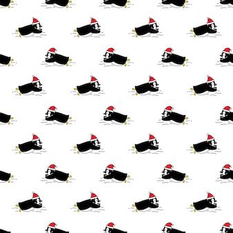 Pingüino, seamless, patrón, navidad, santa claus, caricatura, pájaro