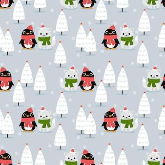 Pingüino y zorro en patrones sin fisuras de bosque de invierno de navidad
