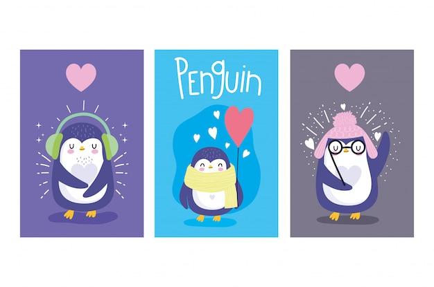 Pingüinos con corazones tarjetas