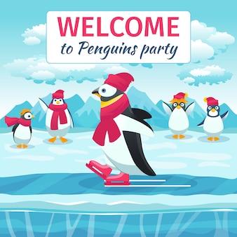 Pingüinos de dibujos animados patinando. animal en la pista de hielo, fiesta de bienvenida al evento festivo. ilustración vectorial
