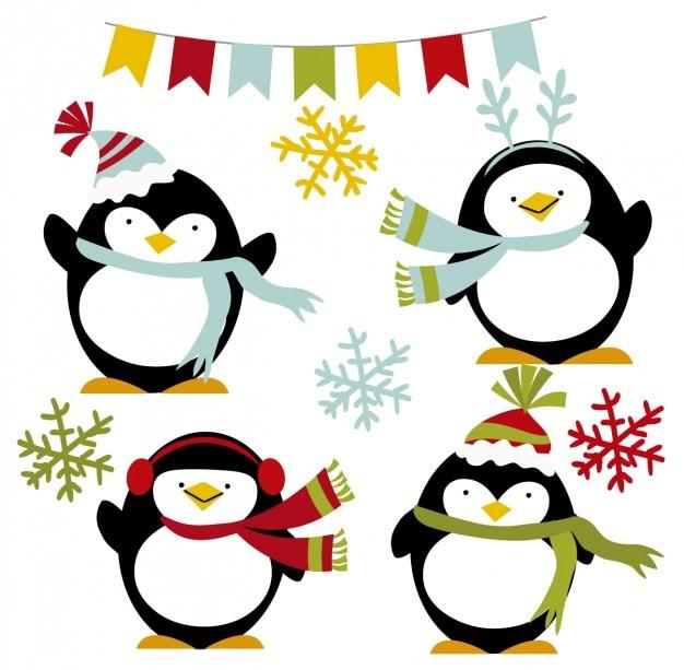 Pingüinos felices de invierno