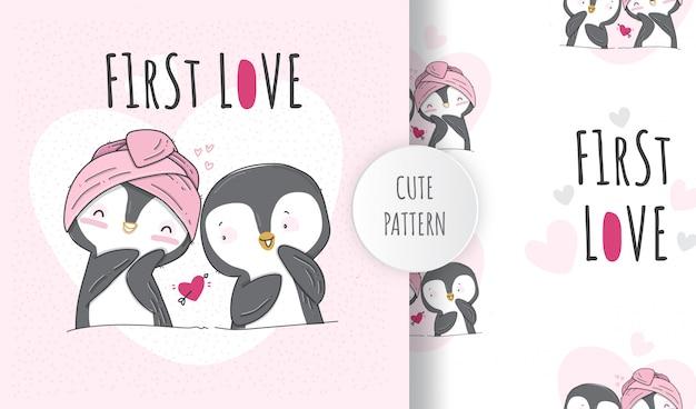 Pingüinos lindos adorables de patrones sin fisuras planas