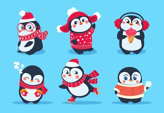Pingüinos personajes de pingüinos de navidad en ropa de invierno. vacaciones de navidad mascotas de dibujos animados lindo