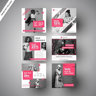 Pink fashion sale social media post para marketing digital