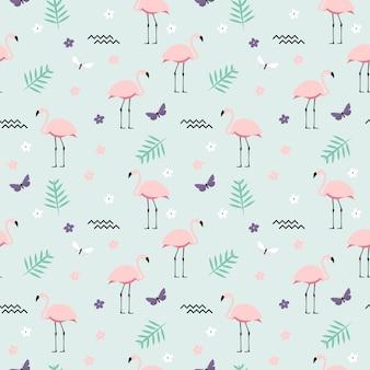 Pink flamingo sin fisuras de fondo. ilustración
