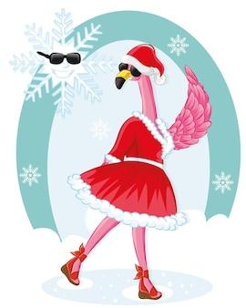 Pink flamingo tarjeta de felicitación de navidad y feliz año nuevo