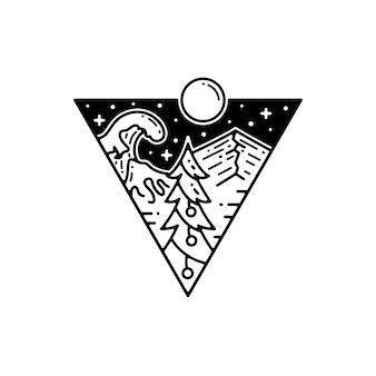 Pino árbol de navidad en la naturaleza dibujo tatuaje