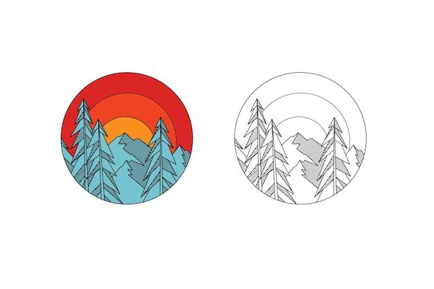 Pino y montaña con arte lineal