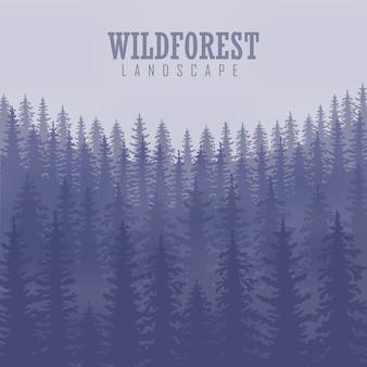 Pino, paisaje natural, madera panorama natural. plantilla de diseño de camping al aire libre. ilustración vectorial