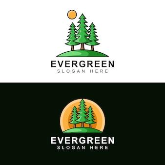 Pino verde con sol plantilla de diseño de logotipo moderno