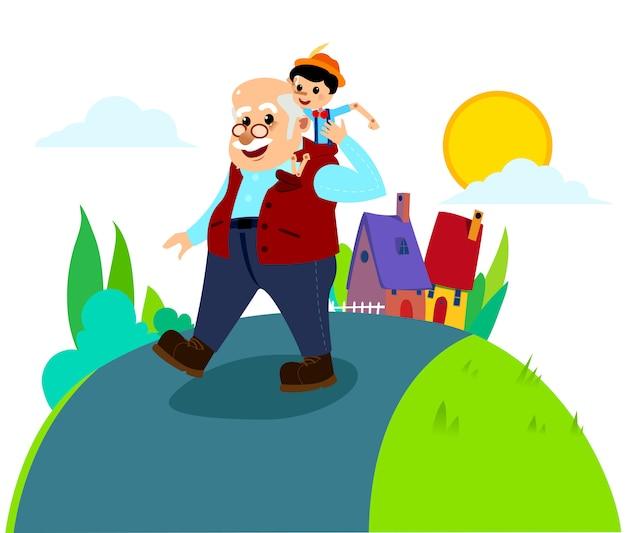 Pinocho y el maestro gepetto en el camino de la aldea
