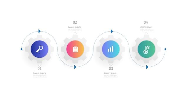 Piñón engranajes ruedas infografía plantilla 4 pasos