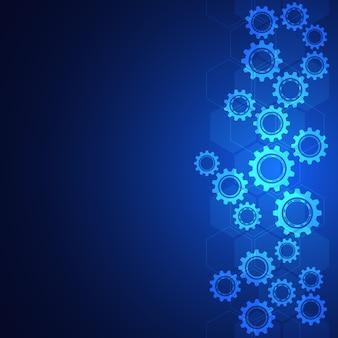Piñones y mecanismos de rueda dentada. tecnología e ingeniería digital de alta tecnología. fondo técnico abstracto.