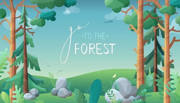 Pinos y abetos en la ilustración del concepto de colinas verdes