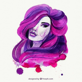 Pintada a mano mujer rosa y morada