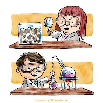 Pintado a mano los químicos en el laboratorio