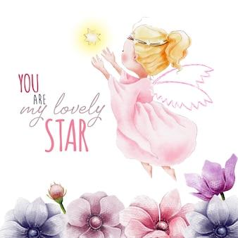 Pintado a mano acuarela ángel con estrella y flores
