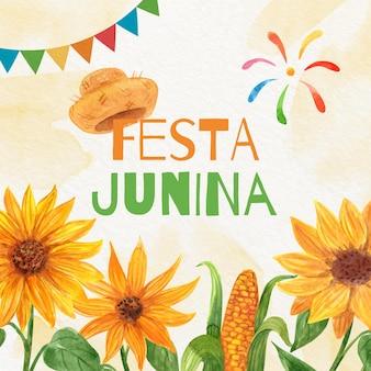 Pintado a mano acuarela festa junina ilustración