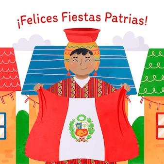 Pintado a mano acuarela fiestas patrias de peru ilustración