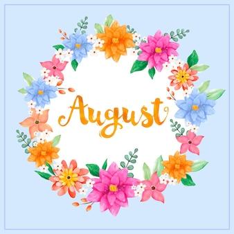 Pintado a mano acuarela floral agosto letras