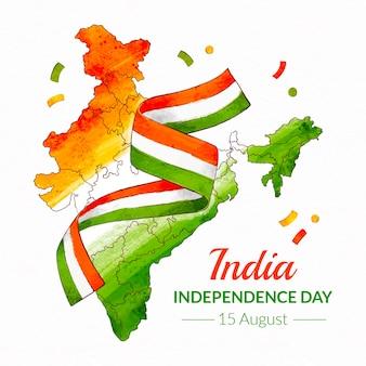 Pintado a mano acuarela ilustración del día de la independencia de india